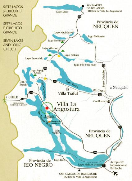 Mapa de Villa La Angostura y Alrededores
